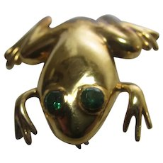 Sterling Silver Ola Vermeil Frog with Green Crystal Eyes