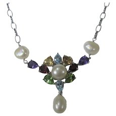 Sterling Silver Gemstone Freshwater Pear Necklace