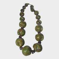 Mega Bakelite Carved Olive Bead Necklace With Amethyst and Onyx Findings