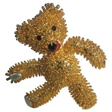 Vintage Camrose and Kross Jacqueline Bouvier Kennedy Gold Tone Teddy Bear Pin