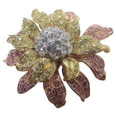 Nolan Miller Flower Pin in Pink and Yellow Crystals