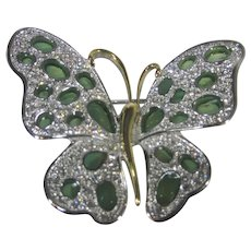 Nolan Miller Cathedral Butterfly Pin With Green and Clear Crystals
