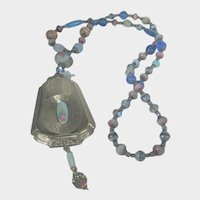 Vintage Art Glass Necklace With Silver Tone Locket With Guilloche