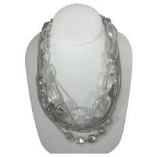 Vintage Chico's Multi Strand Silver Tone and Seed Bead Necklace With Large Lucite Crystals Accents