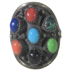 Native American Sterling Silver Ring With a Variety of Gemstones