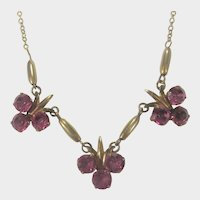 Vintage 1940's AMCO Necklace With Three Pink Crystal Floral Pendants