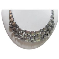 Chico's Silver Tone Statement Necklace With Crystal Studded Accents