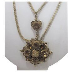 Vintage Florenza Gold Tone Necklace With Purple Crystals