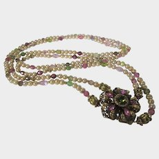 Freshwater Pearl Necklace with Gemstone and Art Glass Beads With Marvelous Focal Adorned With Crystal
