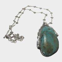 Native American Navajo Artist E & C Fiero Sterling Silver  Turquoise Pendant on Sterling Silver Chain