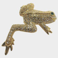 Vintage Camrose & Kross Jackie Kennedy Replica Gold Tone Frog With One Green Eye