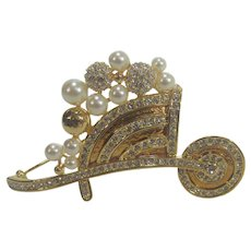 Vintage Camrose and Kross Jacqueline Bouvier Kennedy Gold Tone Wheel Barrow With Faux Pearls and Clear Crystals