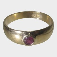 18 Karat Yellow Gold Antique European Band with Natural Ruby Solitaire