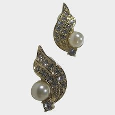 Clarion Pell Princess Grace of Monaco Collection Faux Diamond and Faux Pearl Clip On Earrings