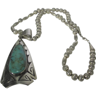 Native American Sterling Silver Turquoise Pendant On a Sterling Silver Bead Necklace
