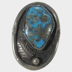 1960's Native American Sterling Silver Navajo Artist Louise Platero Turquoise Feather Ring