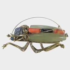 Iradj Moini Massive Signed Grasshopper Pin In a Variety of Gemstones and Art Glass
