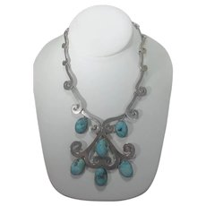 Los Ballesteros Taxco Sterling Silver Necklace With Six Howlite Drops