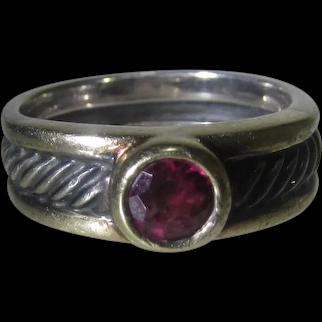 David Yurman Sterling and 18 Karat Yellow Gold Ring with Natural Ruby