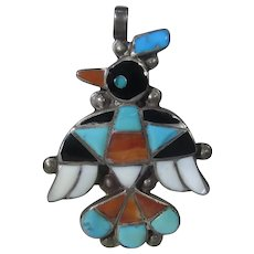 Native American Zuni Artist Signed Thunderbird Pendant in Turquoise, Coral and Onyx