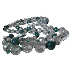 Vintage Crystal Necklace on Chain with Dark Green Accent Beads