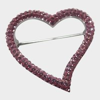 Swarovski Pink Crystal Heart Pin