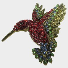 Hummingbird Pin With Scarlet Body and Head with Turquoise Crystal accents on the Wings