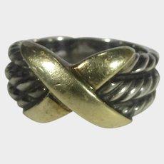 David Yurman Sterling Silver and 14 Karat Yellow Gold Cross Ring