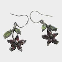 Sterling Silver Gemstone Earrings for Pierced Ears Featuring Garnet, Amethyst and Citrine