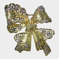 """Nolan Miller """"Antwerp Lace Bow Pin"""" in Gold Tone with Clear Crystal Accents"""
