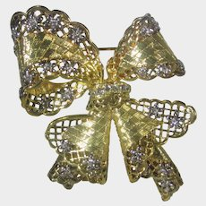 "Nolan Miller ""Antwerp Lace Bow Pin"" in Gold Tone with Clear Crystal Accents"