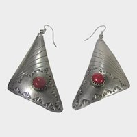 Native American Sterling Silver Earrings With Red Coral for Pierced Ears