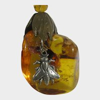 Vintage Brown and Gold Tone Necklace with Large Amber Focal with Silver Tone Fly