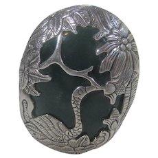 Sterling Silver Over Nephrite Green Jade