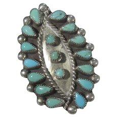 Native American Navajo Artist Leo Harvey Needlepoint Turquoise Ring
