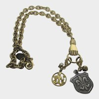 Vintage Maximal Art Gold Tone Necklace With Hand Pendant and Two Other Pendants