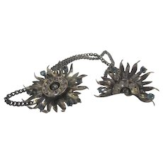 Sterling Silver Vintage Two Part Pin by Glamour in Floral Theme