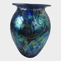 Eickholt Signed Art Glass Vase in Blue and Green