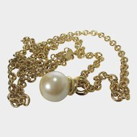 Vintage Carolee Goldtone Necklace With Faux Pearl Drop
