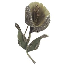 Weiss Calla Lilly Pin Enamelled and Accented With Pave Crystals