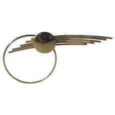 Mid Century Modern Gold Tone Pin In Futurist Design