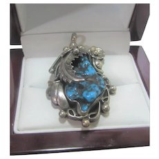 Native American Sterling Silver Artist Signed Turquoise Pendant