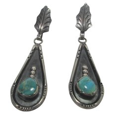 Native American Sterling Silver Navajo Artist Louise Platero Feather Earrings With Turquoise for Pierced Ears