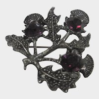 Scottish Heather Themed Silver Tone Pin With Purple Crystal Accents