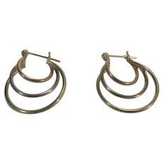 14 Karat Yellow Gold Triple Hoops Pierced Earrings