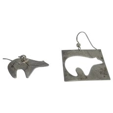 Sterling Silver Pierced Earrings of Unique Pairing of Bear and Frame