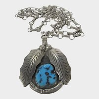 Native American Sterling Silver Artist R. Platero Pendant With Turquoise on Sterling Chain