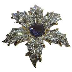 """Nolan Miller """"Fancy Flower"""" Pin Gold Tone With Faux Alexandrite Crystal Center"""