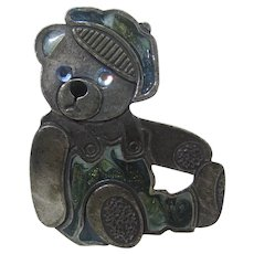 Signed Teddy Bear Pin With Enamelled Hat and Blue Jeans