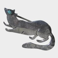 Sterling Silver Raccoon Pin with Turquoise Eye